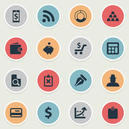 Illustration Set Of Simple Finance Icons. Elements Credit Card, Pushcart, Circle Diagram And Other Synonyms Circle, Currency, network And Accounting.