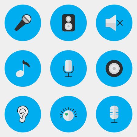 Illustrations-Satz einfache Melodie-Ikonen. Elemente hören, Lautstärke, Mikrofon und andere Synonyme Verstärker, Regler und Mikrofon. Standard-Bild - 84945252