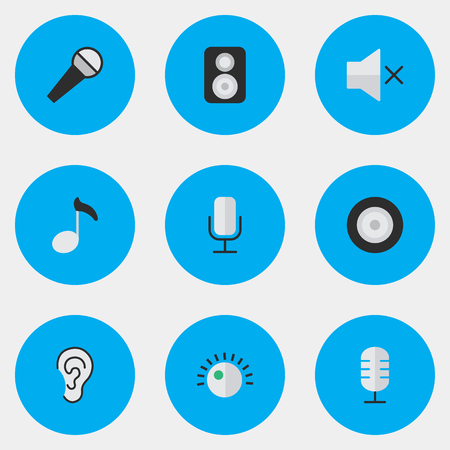 Illustration Set Of Simple Melody Icons. Elements Listen, Volume, Mic And Other Synonyms Amplifier, Regulator And Microphone.
