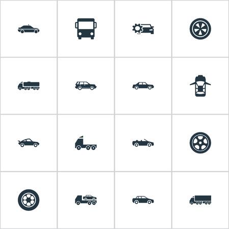 Illustrations-Satz einfache Selbstikonen. Elements Panorama, Fahren, Motor und andere Synonyme, Transport und Evakuierung Standard-Bild - 84945258