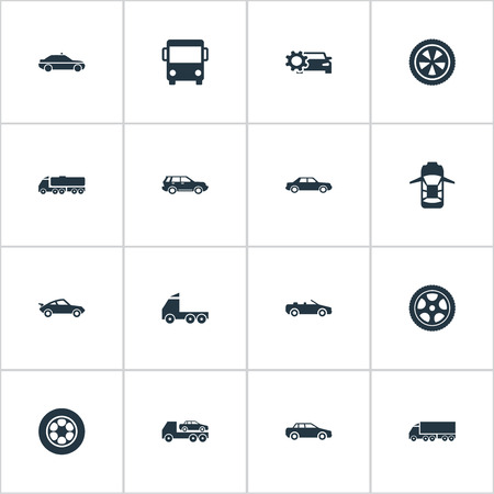 Illustration Set Of Simple Auto Icons. Elements Panorama, Driving, Motor And Other Synonyms Wagon, Carrying And Evacuate.