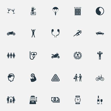 シンプルなファッションのアイコンのイラスト セット。スカイ ダイビング、要素、カジノ、ダイバーの機器、他の同義語ヘッドセット自転車とボデ