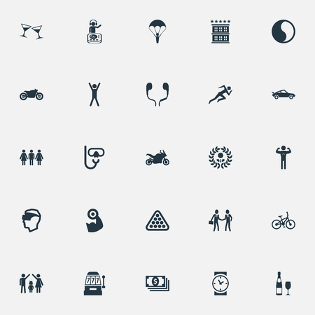 Illustration Set Of Simple Fashion Icons. Elements Skydiving, Casino, Diver Equipment And Other Synonyms Headset, Bicycle And Bodybuilding.