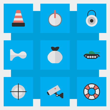 Illustration Set Of Simple Offense Icons. Elements Sniper, Military, Lifesaver And Other Synonyms Cone, Horns And Password.
