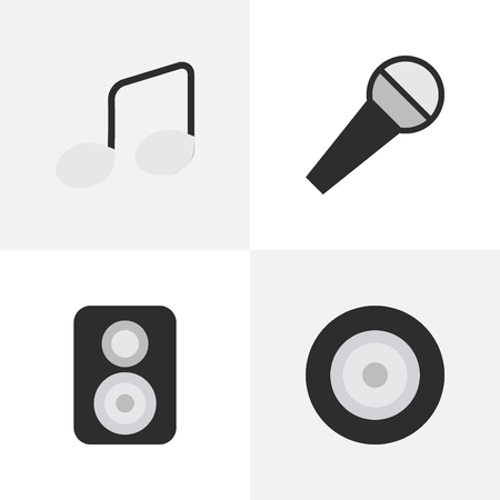 Illustration Set Of Simple Music Icons. Elements Music Sign, Loudspeaker, Mike And Other Synonyms Amplifier, Microphone And Speaker.