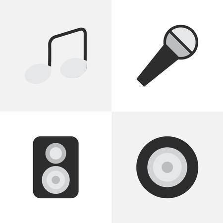 Illustrazione Set di icone di musica semplice. Elementi Music Sign, Loudspeaker, Mike e altri sinonimi Amplificatore, microfono e altoparlante.