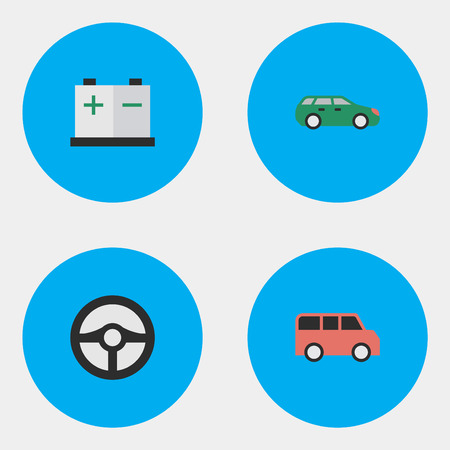 Illustration Set Of Simple Traffic Icons. Elements Family, Steering, Sedan And Other Synonyms Accumulator, Charge And Wheel.