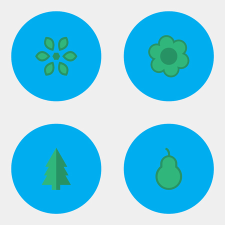 Illustration Set Of Simple Gardening Icons. Elements Flower, Pear, Tree And Other Synonyms Forest, Wood And Pear. Ilustração