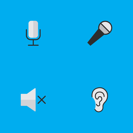 Illustration Set Of Simple Sound Icons. Elements Listen, Mike, Record And Other Synonyms Listen, Record And Mic. Illustration