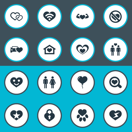 Illustration Set Of Simple Love Icons. Elements Flash, Hearts, Footprint And Other Synonyms Magnifier, Flash And No.