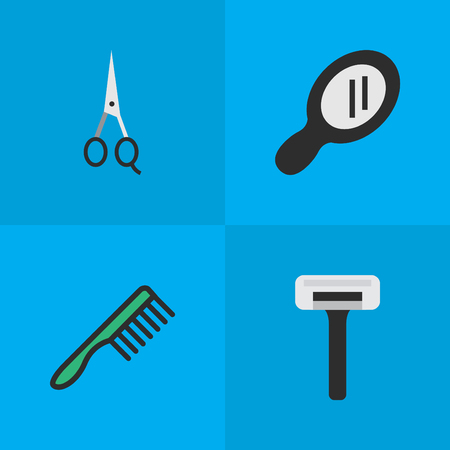 Vector Illustration Set Of Simple Barber Icons. Elements Shaver, Glass, Hairbrush And Other Synonyms Comb, Tool And Speculum. Illustration