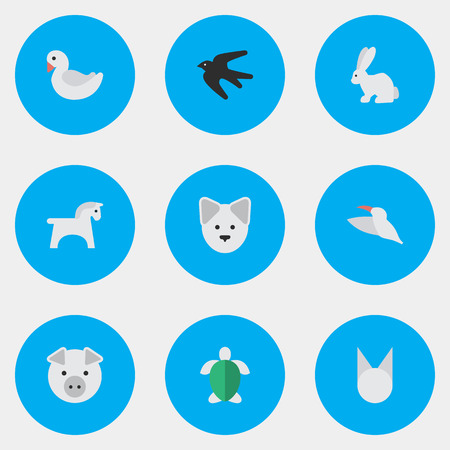 Illustration Set Of Simple Animals Icons. Elements Piggy, Hare, Cat And Other Synonyms Tortoiseshell, Piggy And pony. Illustration