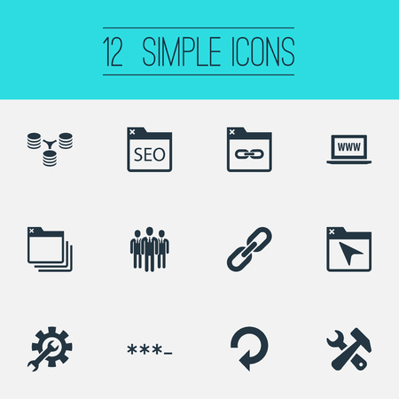 Illustration Set Of Simple Search Icons. Elements Tools, Instrument, Refresh And Other Synonyms Staff, Optimization , folder, refresh icon, laptop and SEO