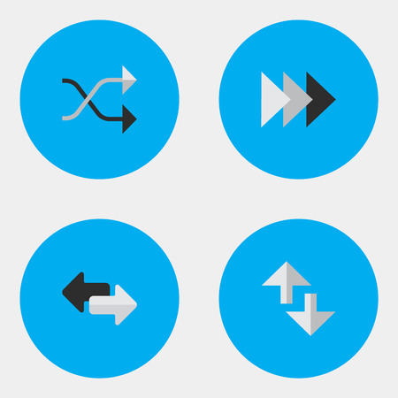 Illustration Set Of Simple Arrows Icons. Elements Import, Onward, Cursor And Other Synonyms Ahead, Forward And Import.