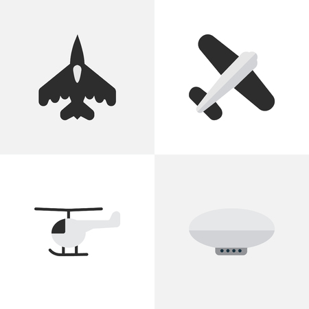 Illustration Set Of Simple Aircraft Icons. Elements Copter, Flying Vehicle, Balloons And Other Synonyms Airship, Flying And Plane.