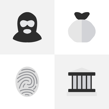 Illustration Set Of Simple Crime Icons. Elements Criminal, Jail, and fingerprint  And Other Synonyms Court, Jail And Bag. Illustration