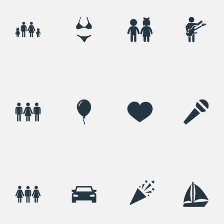 Illustration Set Of Simple Celebration Icons. Elements Mike, Automobile, Yacht And Other Synonyms Musician, Confetti And Guests.