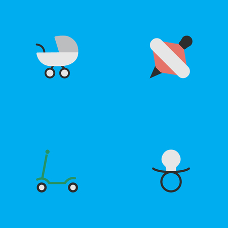 Vector Illustration Set Of Simple Child Icons. Elements Yule, Nipple, Stroller And Other Synonyms Baby, Carriage And Pacifier. Illustration