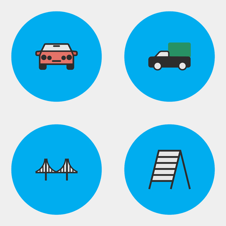 Vector Illustration Set Of Simple Transportation Icons. Elements Auto, Stairs, Pickup And Other Synonyms Stairs, Stairway And Shed.