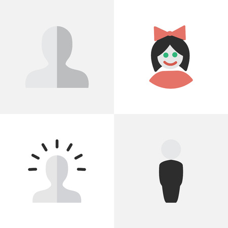 gender identity: Vector Illustration Set Of Simple Profile Icons. Elements Contour, Profile, Girl And Other Synonyms Contour, Shape And Person.