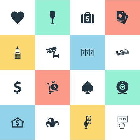 그림 간단한 카지노 아이콘의 집합입니다. 요소 지불, 봉우리, 포커 및 기타 동의어 코어, 장소 및 캠.