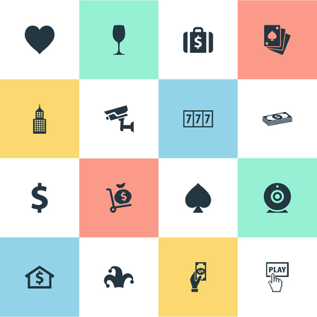 Illustration Set Of Simple Casino Icons. Elements Pay, Peaks, Poker And Other Synonyms Core, Place And Cam. Ilustrace