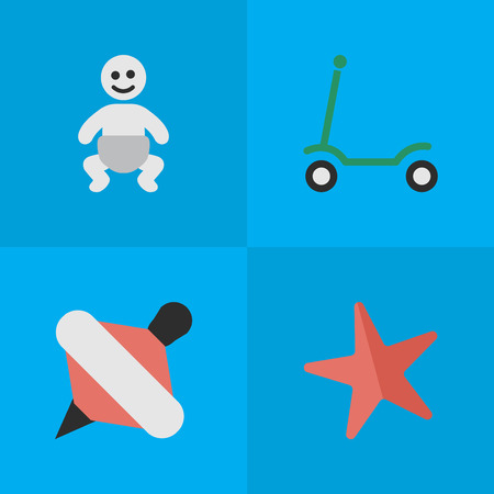 baby playing toy: Vector Illustration Set Of Simple Infant Icons. Elements Child, Kick, Yule And Other Synonyms Toy, Child And Kick.