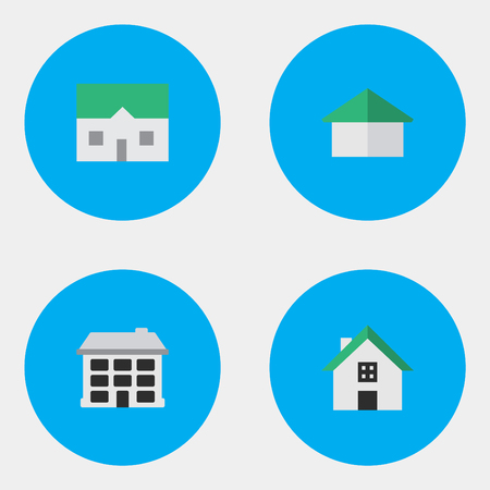 Vector Illustration Set Of Simple Real Icons. Elements Architecture, Home, Structure And Other Synonyms Building, Home And House. Illustration