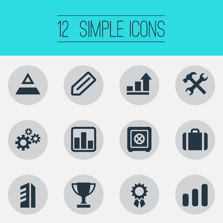 Vector Illustration Set Of Simple Startup Icons. Elements Repair Tools, Award, Strongbox And Other Synonyms Triangle, Office And Chart.