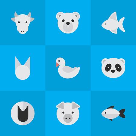 Illustration vectorielle définie des icônes simples de zoo. Éléments Piggy, perche, poisson et autres synonymes Kine, Bird And Swine. Banque d'images - 84945804