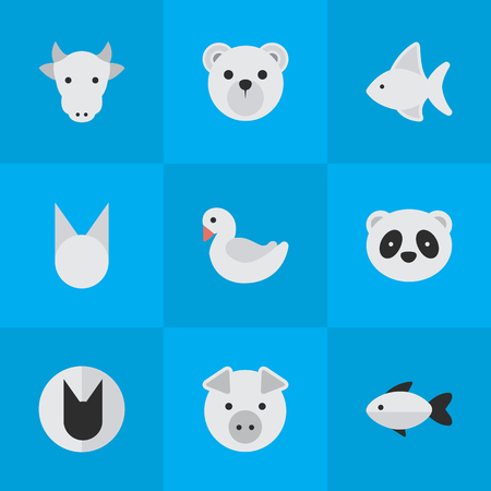 Vector Illustration Set Of Simple Zoo Icons. Elements Piggy, Perch, Fish And Other Synonyms Kine, Bird And Swine. Illustration