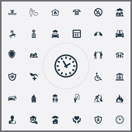 Vector Illustration Set Of Simple Guarantee Icons. Elements Job Accord, Shield, Driving Licence And Other Synonyms Protect, Injured And Family.