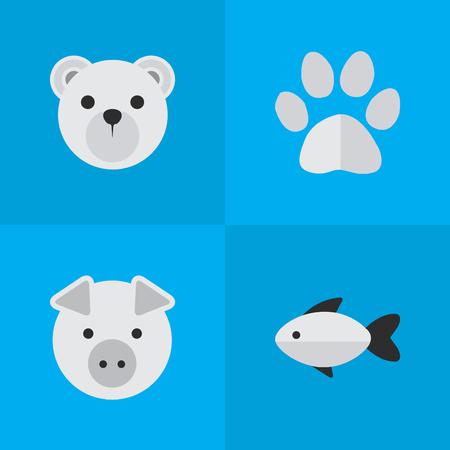 Vektor-Illustrations-Satz einfache Zoo-Ikonen. Elemente Fuß, Piggy, Panda Synonyme Fuß, Barsch und Pfote. Standard-Bild - 84945813