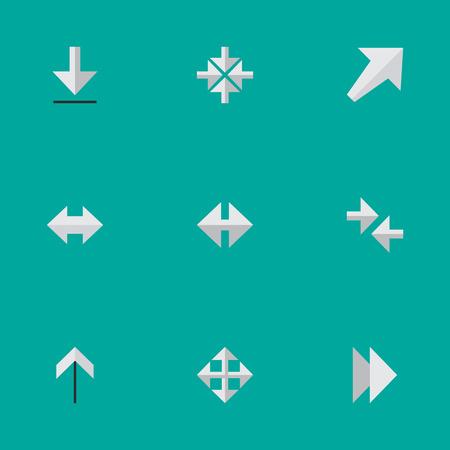 벡터 일러스트 레이 션 간단한 포인터 아이콘의 집합입니다. 위로, 앞으로,로드 및 기타 동의어 내보내기, 크기 조정 및 다운로드 요소. 일러스트