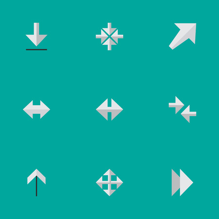 Vector Illustration Set Of Simple Pointer Icons. Elements Up, Forward, Loading And Other Synonyms Export, Resize And Download. Ilustração