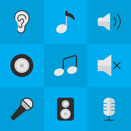 Vector Illustration Set Of Simple Sound Icons. Elements Mike, Speaker, Music Sign And Other Synonyms Control, Sign And Loudspeaker.