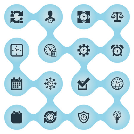 Illustration Set Of Simple clock and time Administration Icons. Elements Planner, Time Management, Structure And Other Synonyms Administrator, Date And Shield.