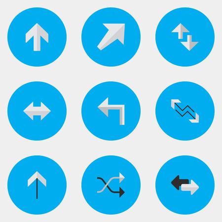벡터 일러스트 레이 션 간단한 포인터 아이콘의 집합입니다. Chaotically, 위로, 오리 엔테이션 및 기타 동의어 방향, 붐 및 인터넷 요소입니다. 일러스트