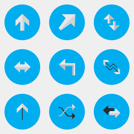 Vector Illustration Set Of Simple Pointer Icons. Elements Chaotically, Up, Orientation And Other Synonyms Direction, Boom And Internet.