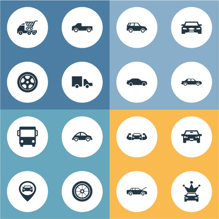 Vector Illustration Set Of Simple Auto Icons. Elements Traffic, Auto, Location And Other Synonyms Energy, And Drive. Illustration