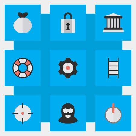 Illustration Set Of Simple Crime Icons. Elements Safe, Lifesaver, Cogwheel , thief, jail, power And Other Synonyms Shot, Sniper And Climbing.