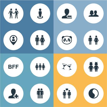 イラスト設定簡易友情アイコン。要素性別、飲料、コンパニオン、他の同義語は永遠に仲間し、仲間します。