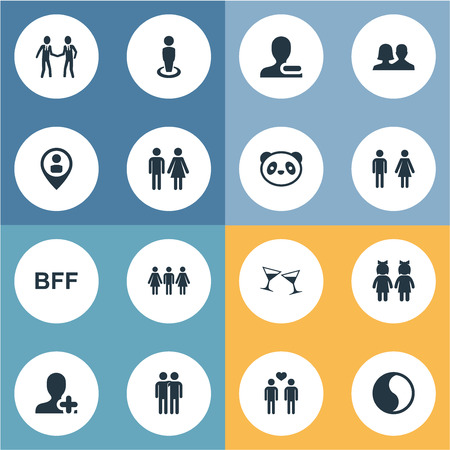 Illustration Set Of Simple friendship  Icons. Elements Gender, Beverage, Companion And Other Synonyms Forever, Pals And Buddies.