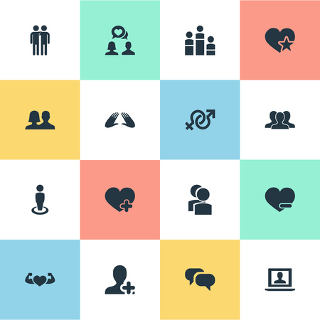 Illustration Set Of Simple Buddies Icons. Elements Gossip, Partner, Favorite And Other Synonyms Singleness, Couple And Heart.