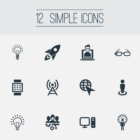 Illustratiereeks Eenvoudige Creativiteitpictogrammen. Elements Lamp, Smart Watch, raket, computerm gloeilamp en andere synoniemen Hi-Tech, Human and Mind.