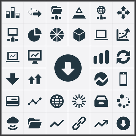 Vector Illustration Set Of Simple Analysis Icons. Elements Cloud, Telephone, Notebook And Other Synonyms Increase, Financial And Data.
