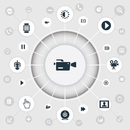 Set van eenvoudige pictogrammen. Elementen Microfoon, statief, polsapparaat en andere synoniemen Accu, start en film.