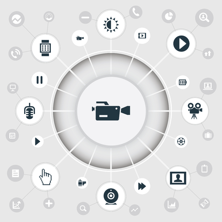 Illustration Set Of Simple  Icons. Elements Microphone, Tripod, Wrist Device And Other Synonyms Battery, Start And Film.