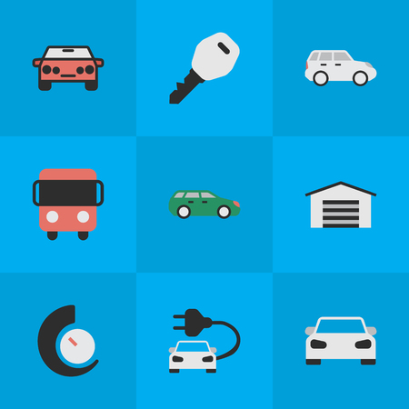 Illustration Set Of Simple Shipping Icons. Elements Open, Sport, Autobus And Other Synonyms Bus, Speedometer And Counter. Illustration