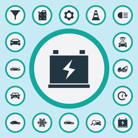 Illustration Set Of Simple Car Icons. Elements Filter, Carriage Wash, Car And Other Synonyms Machine, Battery, Caution And Vehicle. Illustration